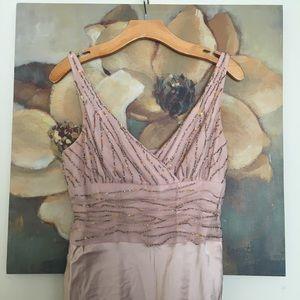 Anne Klein Blush Pink Silk Beaded Dress
